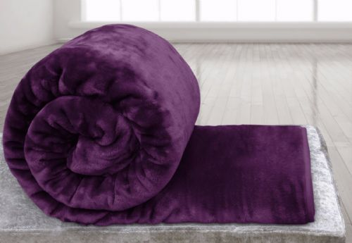 AUBERGINE COLOUR SUPER SOFT PLUSH MINK THROW